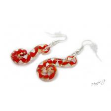 Spirálovité náušnice z taženého skla - červenooranžové