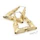 Velké náušnice kruhy - triangl - bambus zlaté barvy