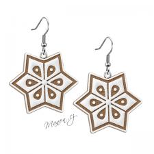 Náušnice vánoční perníčky - hvězda s bílým zdobením