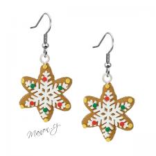 Náušnice vánoční perníčky - hvězda s barevným zdobením