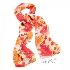 Šál květinový - oranžový