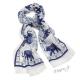 Šál bílý s modrými slony a ornamenty