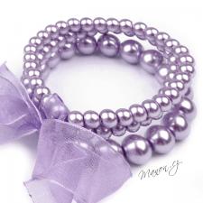 Retro náramek perličkový se stuhou - fialový