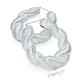 Náušnice velké kruhy - 3D copánek - kov stříbrné barvy