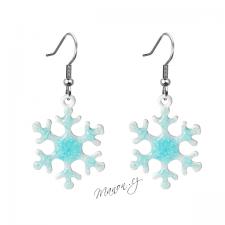 Zimní náušnice sněhové vločky - modrobílé (háčky chir. ocel 316L)