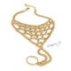 Náramek s prstenem a duhovými kamínky - zlatá barva