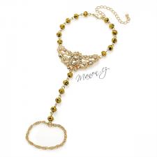 Náramek na ruku nebo nohu s prstenem a korálky - zlatá barva