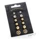Sada náušnic - 6 párů - s kuličkami, květy, kamínky a ornamenty