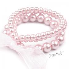 Retro náramek perličkový se stuhou - světle růžový