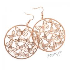 Náušnice kruhy s motýly - barva růžového zlata