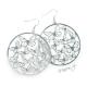 Náušnice kruhy s motýly - stříbrná barva