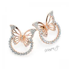 Náušnice motýli na kroužku s třpytivými kamínky - barva růžového zlata