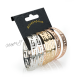 Sada 3 párů náušnic kruhů s řeckým vzorem - zlatá a stříbrná barva