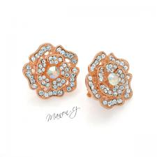 Náušnice klipsy květy s třpytivými kamínky - barva růžového zlata