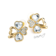 Náušnice čtyřlístky s třpytivými kamínky - zlatá barva