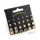 Sada náušnic - 12 párů - pecky, čtverce, srdce, perličky, kolečka