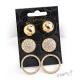 Sada 3 párů náušnic - koule, kolečka a kruhy s kamínky - zlatá barva