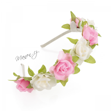Věnečková čelenka z umělých květů - růžové a bílé květy