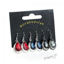 Sada náušnic - 3 páry - slzičky s velkými barevnými kameny