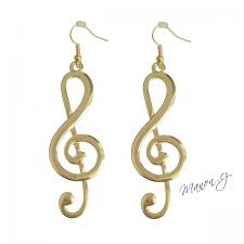 1113b0514 Dlouhé náušnice houslový klíč zlaté barvy
