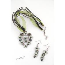 Sada - náhrdelník a náušnice - zelené a bílé květy