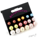 Sada - náušnice barevné perličky - 9 párů