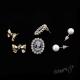 Retro náušnice - sada - kameje, mašle a perly
