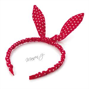 Retro čelenka puntíkovaná s ušima - červená - Manon.cz 04cc3c3553