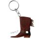 Přívěsek na klíče - kovbojská bota - hnědá