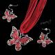Sada - náhrdelník a náušnice - motýli červení - II. jakost