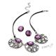 Sada náhrdelník a náušnice s kamínky - fialová
