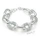 Náramek řetěz s velkými oky a kamínky - stříbrná barva