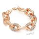 Náramek řetěz s velkými oky a kamínky - růžově zlatá barva