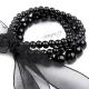 Retro náramek perličkový se stuhou - černý