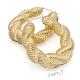 Náušnice velké kruhy - 3D copánek - kov zlaté barvy