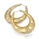 Náušnice velké kruhy - ovály s reliéfem - zlatá barva