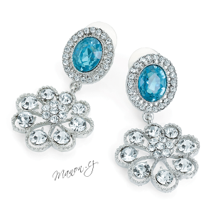 0f3c730f2 Plesové náušnice luxusní s modrým kamenem a květinou - Manon.cz