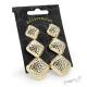 Sada čtvercových náušnic s reliéfem - 3 páry - zlatá barva