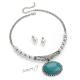 Sada retro perlový náhrdelník se zelenomodrým kamenem a náušnice