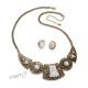 Sada retro náhrdelník s mramorovými kameny a náušnice