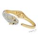 Luxusní náramek zlaté barvy s hlavou pumy a kamínky