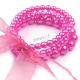 Retro náramek perličkový se stuhou - růžový sytý