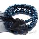 Retro náramek perličkový se stuhou - mořská modř