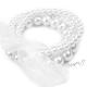 Retro náramek perličkový se stuhou - bílý