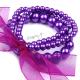 Retro náramek perličkový se stuhou - tmavě fialový