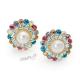 Náušnice klipsy - kulaté s perličkami a barevnými kamínky