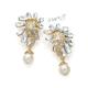 Luxusní náušnice klipsy s třpytivými kameny a visacími perlami