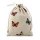 Dárkový sáček lněný s potiskem motýlů - velikost M