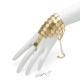 Náramek s prstenem z hranatých penízků - zlatá barva - II. jakost