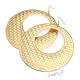 Náušnice obří kruhy s kostičkovým reliéfem - zlatá barva